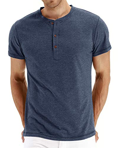 Cabeen Camiseta de Manga Corta para Hombre Verano Henley Casual T-Shirt Cuello Redondo con Botones