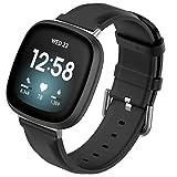 Sankel Compatible for Fitbit Versa 3/Sense Bands,Women Men Soft Genuine Leather Strap Sport Replacement Accessories Wristband for Fitbit Sense & Fitbit Versa 3 Smartwatch (Black)
