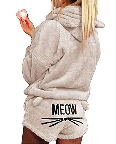 XingYue Direct 2 stücke Frauen Katze Pyjamas Nette Mädchen Meow Nachtwäsche Weichen Bademantel Shorts Winter Lounge Nachtwäsche Sets (Color : Beige, Size : S)