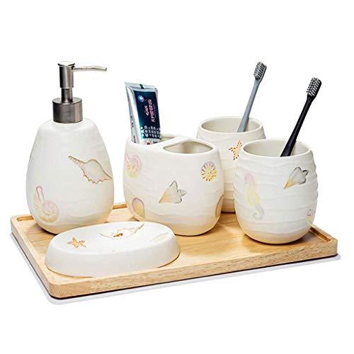 Dispensadores de Jabón Cuarto de baño de cerámica de cinco piezas de estilo europeo set de lavado de la boca taza de baño Suministros Kit S Juego de soporte for cepillos de dientes Dispensador de jabó