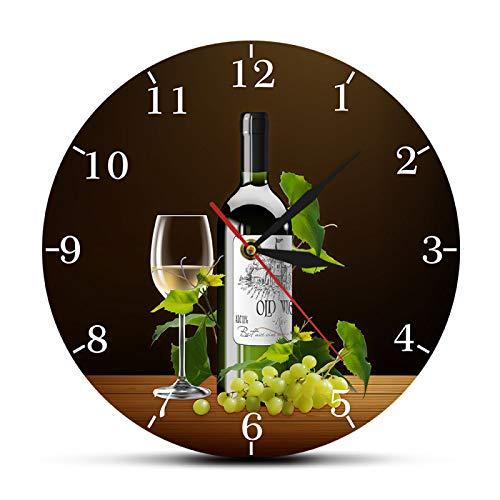 Relojes de Pared Vino Tinto y Blanco Bodega Señal de borrachera Cocina Moderna Reloj de Pared Botellas y Copas de Vino con Uvas Inicio Bar Taberna Reloj de Pared