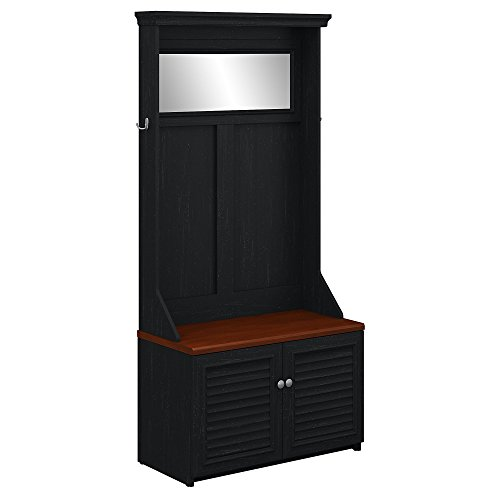 Bush Furniture Fairview Hall Tree with Storage Bench in Antique Black and Hansen Cherry