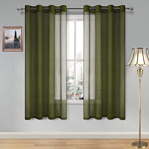 DWCN Olive Green Sheer Curtains for Living Room Bedroom Faux Linen Look Voile Drapes Grommet Top Window Curtain Panel 52 x 72 inches Long,Set of 2 Panels