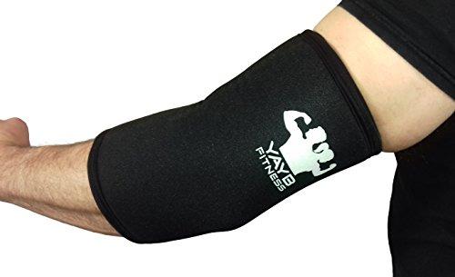 YAYB Ellenbogen-Bandage, 7mm, stark, ein Paar, für Powerlifting, Crossfit, Gewichtheben, Bodybuilding, mit verstärkter Einzelnaht für beste Kompression und Langlebigkeit, aus Neopren, Schwarz , M