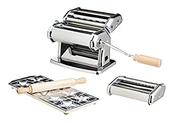 Pasta Maker Machine by Imperia- Deluxe Set w 2 Attachments Star Ravioli Mold and Rolling Pin