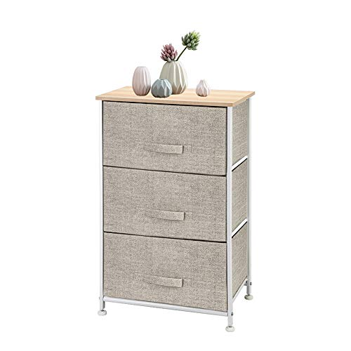Drawer Chest, Beautiful Storage Cabinet Drawer Dresser with Pull Fabric Drawers and Metal Frame Wooden Tabletop for Closets Nursery Dorm Room Hallway (Grey)