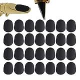 Clyhon 40 Piezas Cojín de boquilla 0,8 mm Parches de boquilla para saxofón alto y tenor y clarinete, negro.