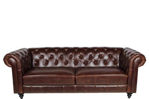 AC Design Furniture 43699Chester Field Henning sofá 3plazas, Aprox. 219x 78x 88cm, Funda de Piel sintética marrón