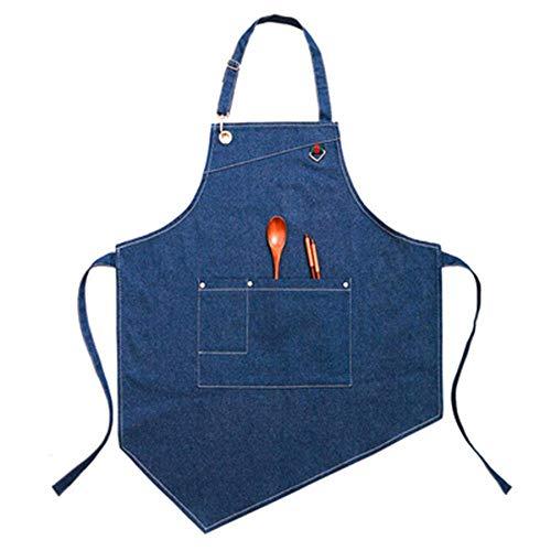 AMITD schorten, denim keukenschort, tuinen, pottenwaren, ambachtelijke bedrijf, garages, slager, schort, neutrale schort, verstelbare schort, lichtblauw Dunkelblau donkerblauw