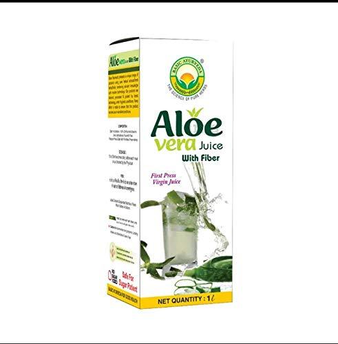 Basic Ayurveda Sugar Free Aloe Vera Juice with Fiber 1000ml   Controls Sugar   Improve skin conditions   Detoxification