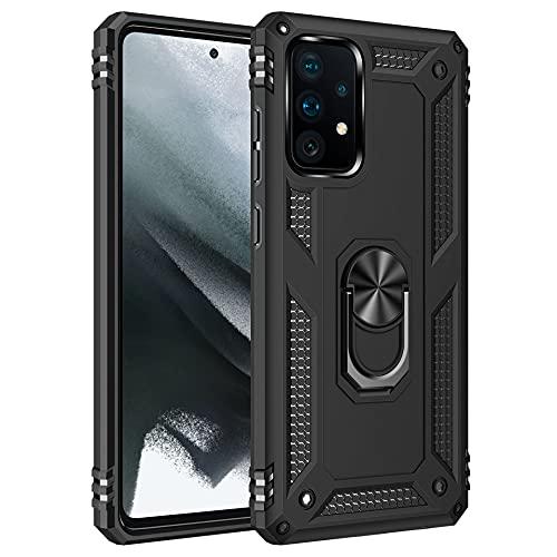 Funda para Xiaomi Mi 11 Lite 5G Teléfono Móvil Doble Capa Silicona Bumper Case con 360 Grados Rotaria Ring Holder Protectora Armor Mi 11 Lite 5G Cover (Negro, Mi 11 Lite 5G)