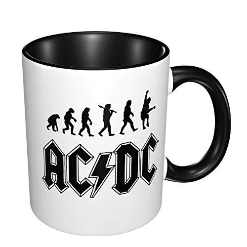 ACDC Taza de café resistente a altas temperaturas de doble color con impresión personalizada, taza de té, novedad, cerámica blanca