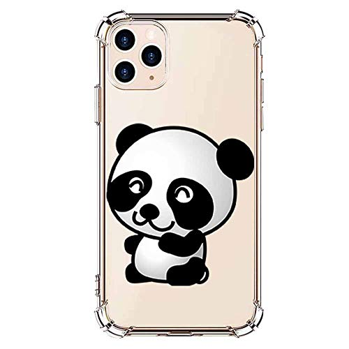 Compatible with iPhone 11 pro Max Case TPU - Clear Animal Panda Design Slim Soft Shockproof Clear Screen Protective Pattern Girl Women Cute TPU Bumper Protector Funny Case for iPhone 11 pro Max-6