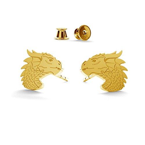 GIORRE ¤ Neu Drachen Ohrringe ¤ Feine Sterling Silber 925 SILBER : Yellow 24K Gold Plating