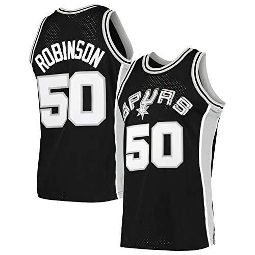 WWWJ Herren San Antonio Spurs David Robinson Swingman Trikot, Basketball-Shirt, klassisches Hartholz, Geschenk für Männer Gr. XL, Schwarz