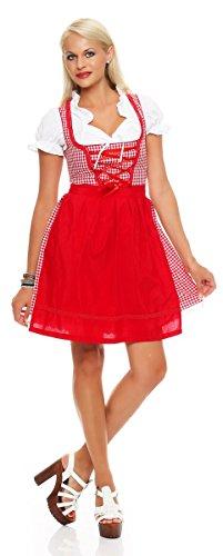 Fashion4Young N10590 Damen Dirndl 3 TLG.Trachtenkleid Kleid Bluse Schürze Oktoberfest (40, rot-Weiss)