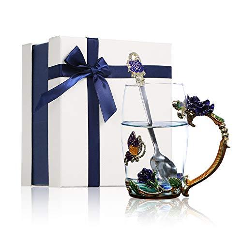 Decdeal Conjunto de canecas de vidro para chá com desenho esmaltado de flor de crisântemo, sem chumbo, com colher, pano de limpeza para presente para mulheres, professoras, dia das mães