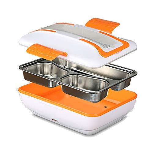 Zeerkeer Elektrische Lunchbox, tragbare Food Box Heizung Größe XL frisch Abnehmbare DREI Schichten Lebensmittel trennen umweltfreundlich praktisch Geschmack verbessern Brotdose (Orange)