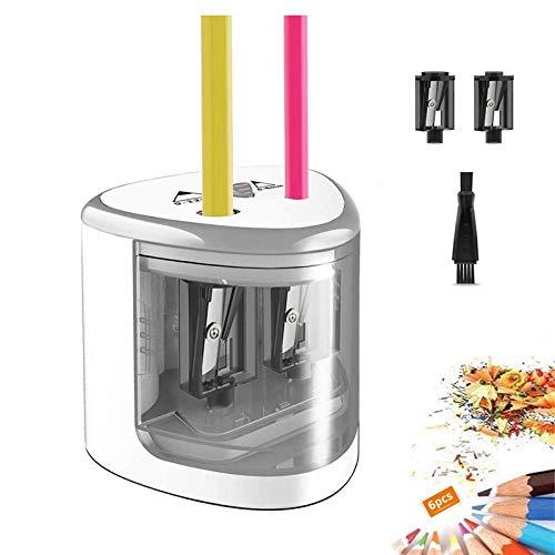 TOPERSUN Sacapuntas Eléctrico Afilador Lapices Electrico Agujeros Dobles para 6-12mm Sacapunta Lápiz de Color para Oficina Salón de Clases Dibujo y Hogar Regalo del día de los niños