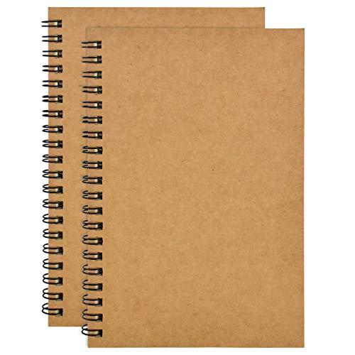 2 STK A5 Skizzenbuch, 100 Seiten Spiralge Bundenes Notizbuch, Leeres Zeichenpapier Skizzenbuch, Kraft Cover Skizzenblock, Ringbuch Zeichenblock zum Aquarell, Journal, Zeichnen von Landschaften (Kraft)