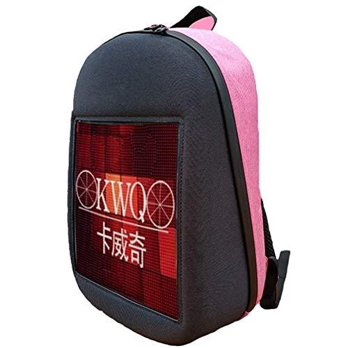Smart LED Freizeit Daypacks Dynamische Bildschirm App bearbeiten Rucksack - Outdoor Sports Werbung wasserdichte Rucksack, Klage for Jungen-Mädchen-Schularbeit (Farbe : Pink)