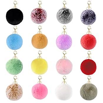JOYYPOP 16 PCS Pom Poms Keychains Fluffy Pompoms Balls Faux Rabbit Puff Ball Keyrings for Girls Women  Mix Color