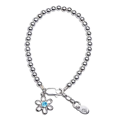 Girls Sterling Silver Simulated March Birthstone Bracelet with Daisy Charm