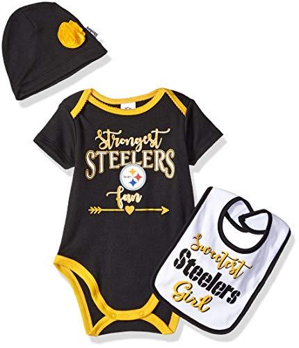 NFL Pittsburgh Steelers Baby-Girls Bodysuit, Bib & Cap Set, Black, 3-6 Months
