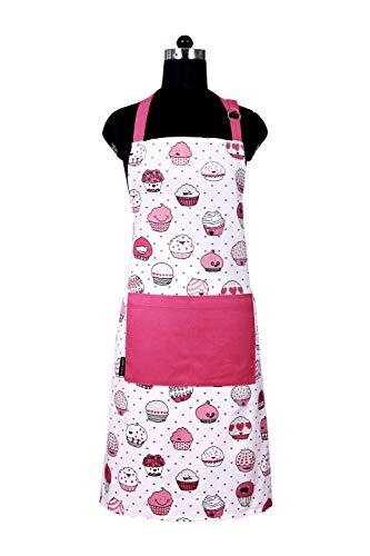 Amour Infini Schürze 100% Baumwolle (69,8 x 83,8 cm) mit geteilter Tasche vorne, Verstellbarer Hals und Taille Beziehungen, maschinenwaschbar, Merry Christmas Apron Cup Cakes
