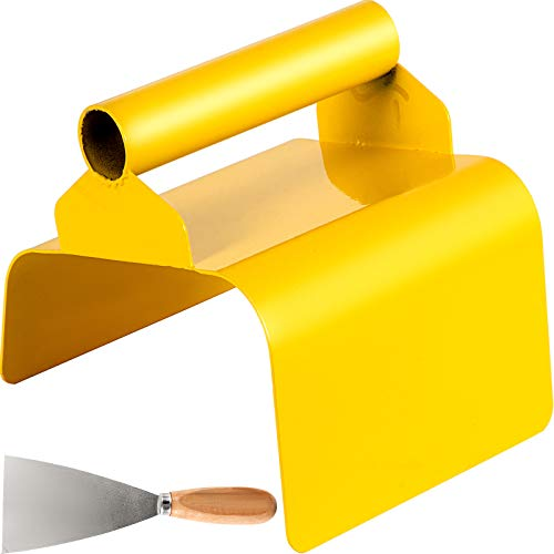 """VEVOR Landscape Curb Trowel Stainless Steel Concrete Curbing Trowel 4"""" x 6"""" x 4"""" Concrete Curb Tool Slope Slant Edger Yellow Cement Model Tool with Handle and Putty Knife for Lawn, Garden, Pavement"""