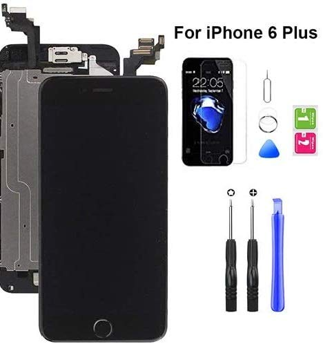Hoonyer Für iPhone 6 Plus Display ersatzbildschirm LCD Touchscreen Display vorinstallierte frontkamera näherungssensor Reparatur kit komplette ersatzbildschirm mit Werkzeug (Schwarz)