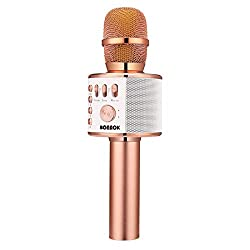 professional BONAOK wireless karaoke microphone with Bluetooth, portable 3-in-1 hand karaoke microphone …