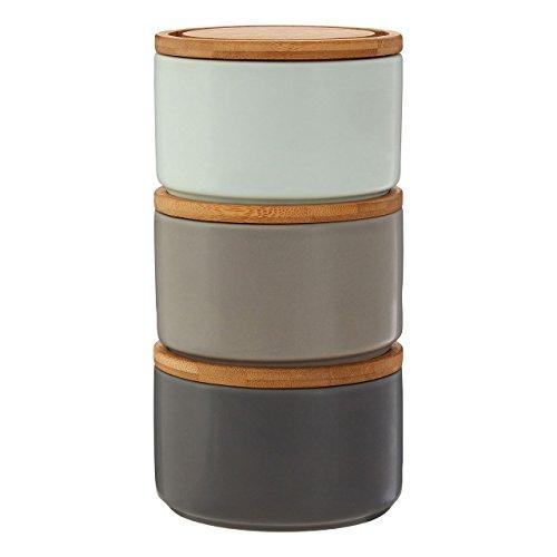Premier Housewares Fenwick Grey/Pale Blue Aufbewahrung kanisters, Bambus, Dolomit, Grau, 12x12x8