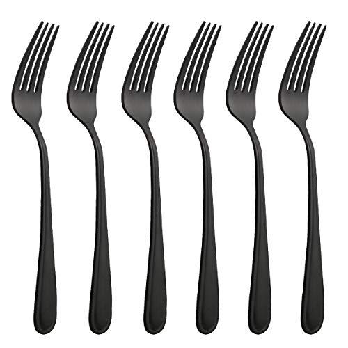 HISSF Dinner Forks Stainless Steel 18/0 of Table Forks 6 Pcs for Home, Kitchen Restaurant, Dishwasher Safe, 8.0 Inches, Matte Black