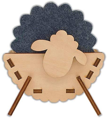 HeideHome Filzuntersetzer 6er Set dunkelgrau mit Halter aus Holz (Schaf/Heidschnucke) – nachhaltige Premium Glasuntersetzer grau aus Filz für Tisch, Bar, usw. – Untersetzer für Getränke rund