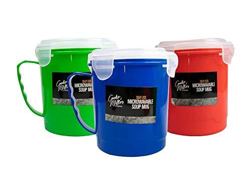 Invero Set di 3 tazze da zuppa in microonde, con manico e coperchio a scatto, capacità di 600 ml per tazza, ideali per cucina, pranzo, viaggi e molto altro ancora.