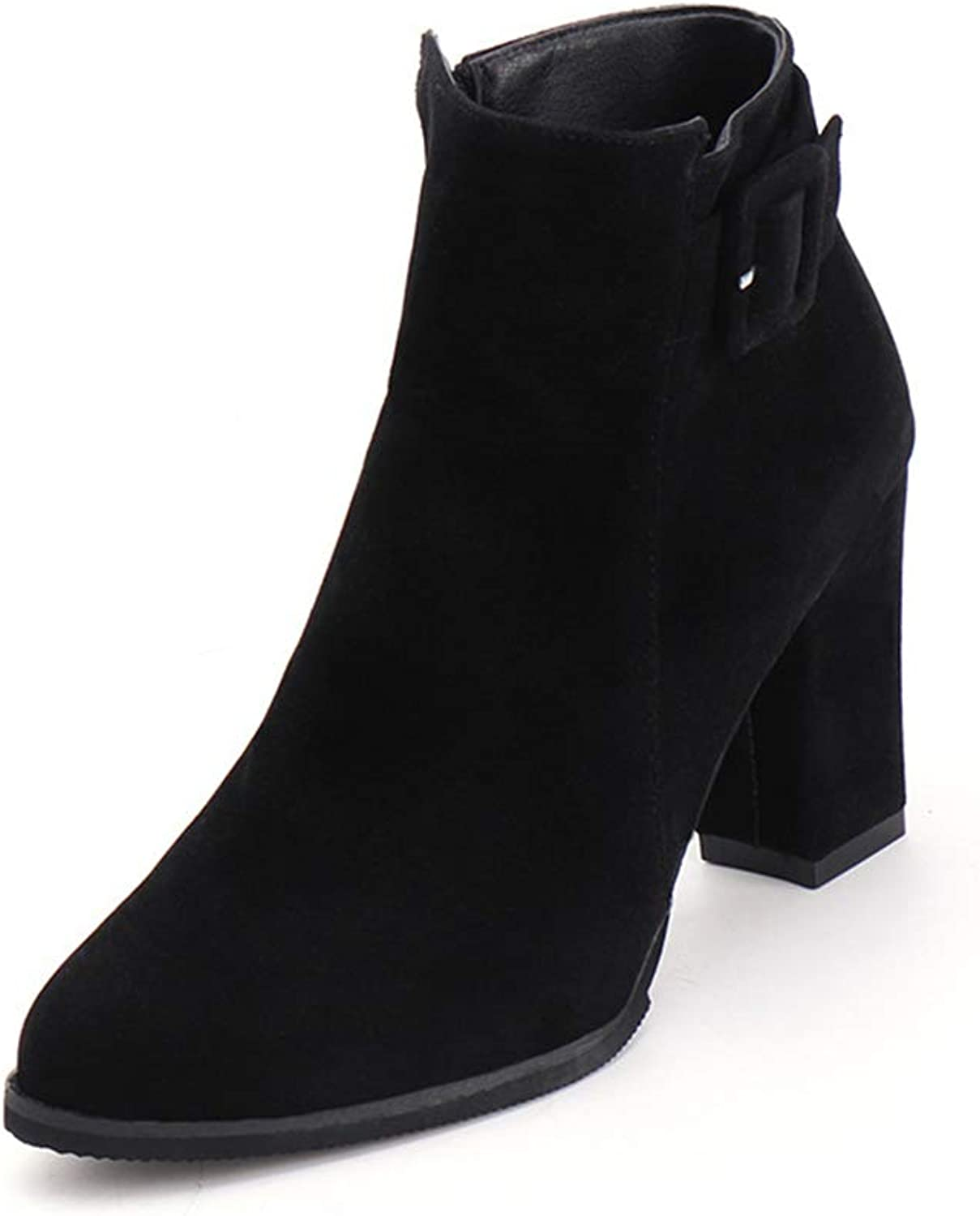 Super frist Women's High-Heeled Martin Boots Pointed Fashion Ankle Boots Retro and Bare Boots