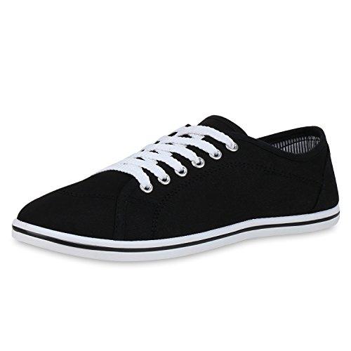 SCARPE VITA Damen Sneaker Low Turnschuhe Schnürer Freizeitschuhe Sportliche Stoff Schuhe Basic Schnürschuhe 36918 Schwarz Black Total 37