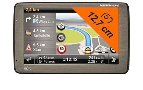MEDION E5270 (MD 98531) 12,7 cm (5 Zoll) Navigationssystem (GoPal ME 7.5, TMC, West-Osteuropa Kartenmaterial, 4 GB interner Speicher) titan