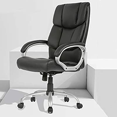 Home Office Chair Desk Ergonomic Computer Executive Modern Tall Adjustable Swivel High Back Wide Comfortable Leather Metal Stool with Arms Lumbar Support, Black