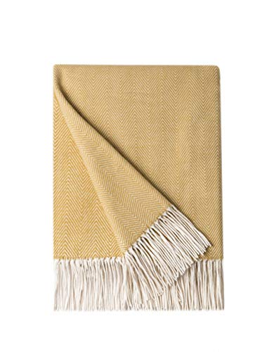 BOURINA Herringbone Sofa Throw Blanket Faux Cashmere Lightweight Soft Cozy Couch Bed Chair Fringe Throw Blankets 125 x 152cm,Yellow