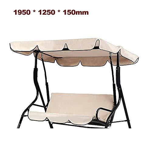 KKmoon Ersatzdach Gartenschaukel Universal 1950 * 1250 * 150 mm Hollywoodschaukel 3 Sitzer UV Ersatz Bezug Sonnendach Schaukel Beige195