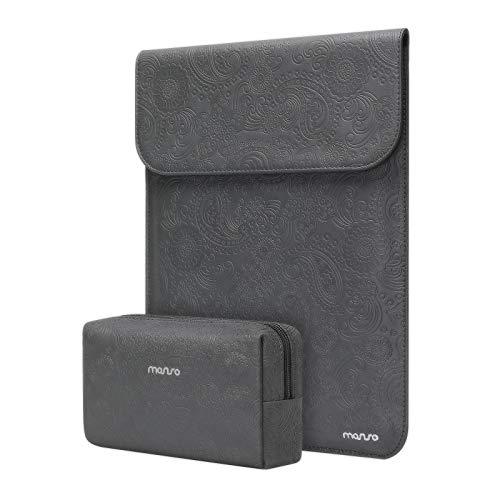 MOSISO Funda Portátil Compatible con MacBook Air 13 A2337 M1 A2179 A1932/MacBook Pro 13 A2338 M1 A2289 A2251 A2159 A1989 A1706 A1708, PU Bolsa Blanda en Relieve con Bolso Pequeño, Gris Espacial