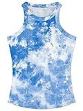 YIKIBODA Women's Tie-Dye Racerback Tank, Summer Ribbed Crew Neck Tank Top Cami Vest Shirt, Sky Blue, US Medium = Tag L
