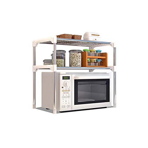Estante para Horno microondas Estante de Cocina Doble Tipo H Estante de Almacenamiento de Cocina multifunción Metal Acero Inoxidable Montaje fácil Ahorro de Espacio
