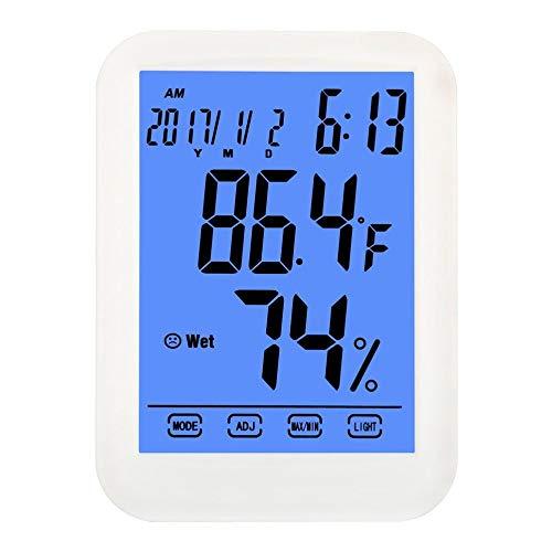 UYKIKUI Digital Hygrometer Thermometer, Touch Screen Innen- Und Außentemperatur Luftfeuchtigkeit Monitor Mit Hintergrundbeleuchtung Für Office Home Gewächshaus Weinkeller Lager