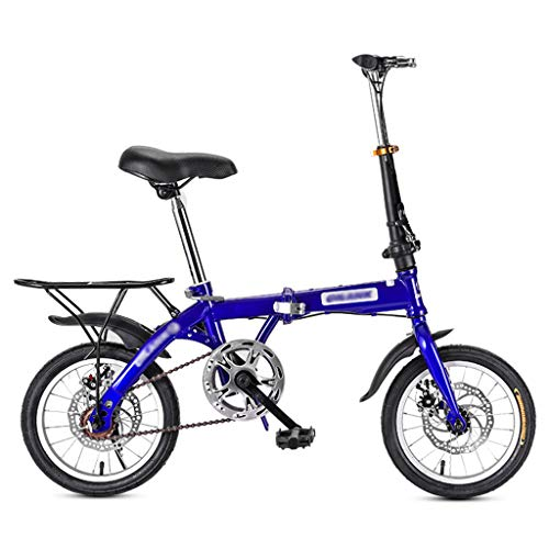 YYSD Mini Bicicletta Pieghevole Studenti Adulti Bicicletta Pieghevole Compatta a velocità Singola Leggera Freno a Doppio Disco Piccola Bicicletta con Cestino - 14/16/20 Pollici