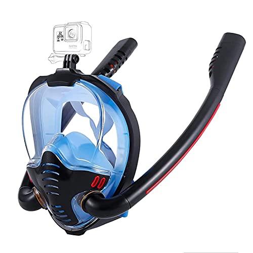 CHSDN Máscara de Snorkel de Cara Completa con toallitas antivaho, máscara de Snorkel con Vista panorámica HD de 180 Grados, Top seco antifugas para Adultos y niños