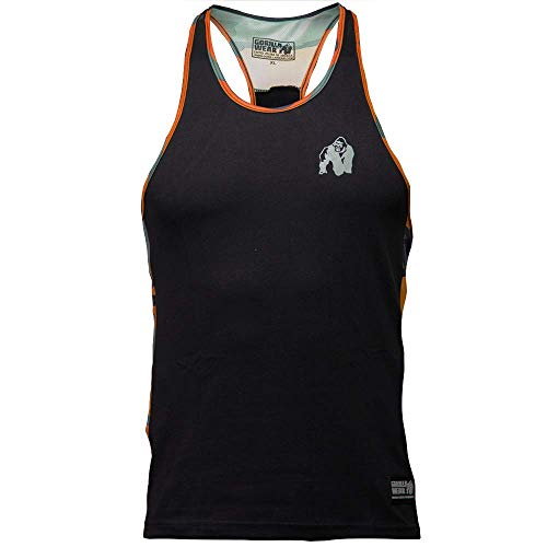 GORILLA WEAR Sacramento Camo Mesh Tank Top - Fitness Stringer Bodybuilding Muskelshirt Schwarz/Orange M