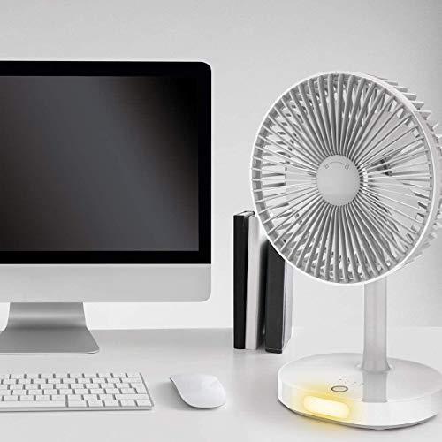 Ventilador de mesa con iluminación LED y potente ventilador de batería de 3000 mAh con 3 modos de velocidad.